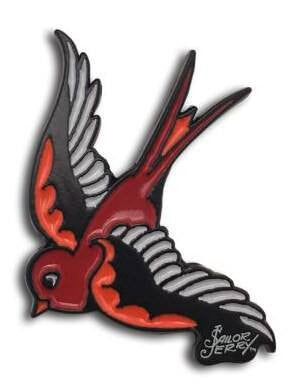 """Swallow"" Enamel Pin by Sailor Jerry (Red) - www.inkedshop.com"