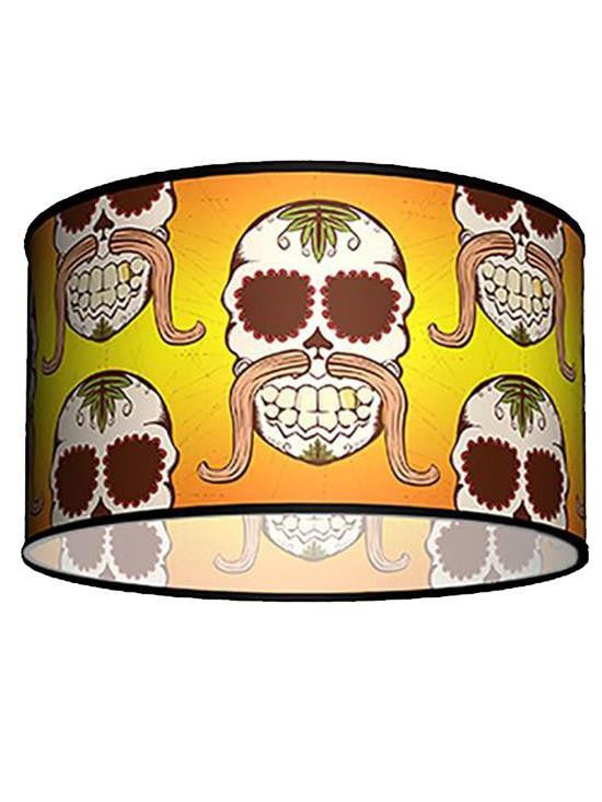 Swag Pendant With Skull Mustache Shade by Lamp in A Box - www.inkedshop.com