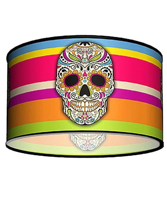 Swag Pendant With Sugar Skull Shade by Lamp in A Box - www.inkedshop.com