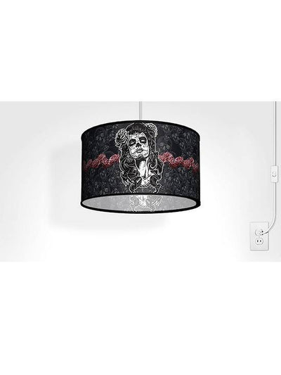 Swag Pendant With Lady Sugar Skull Shade by Lamp in A Box - www.inkedshop.com