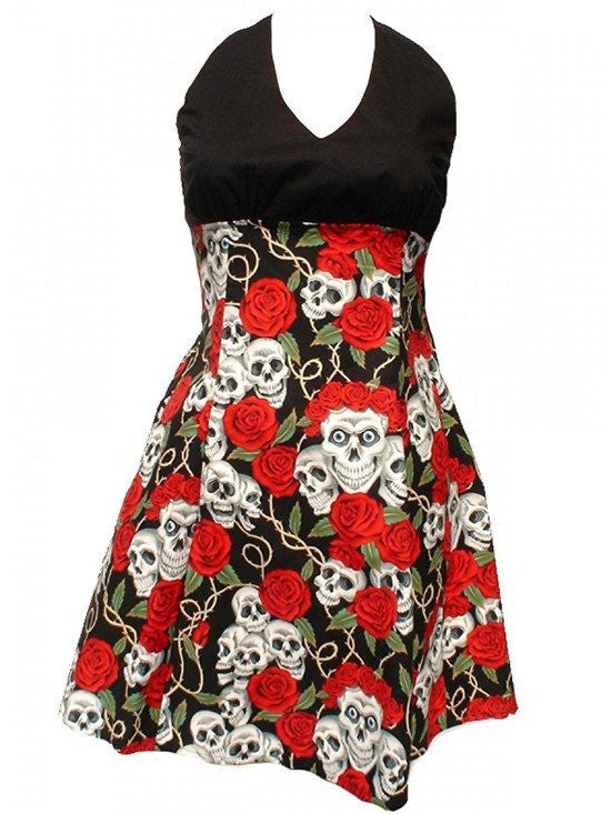 "Women's ""Swing Me Down Skulls and Roses"" Dress by Hemet - InkedShop - 1"