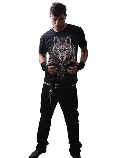 "Men's ""Wolf Dreams"" Tee by Spiral USA (Black) - www.inkedshop.com"