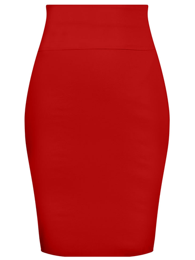 "Women's ""Bow Back"" Pencil Skirt by Double Trouble Apparel (Red) - www.inkedshop.com"