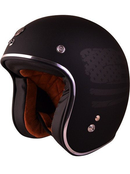 """Black Flag"" 3/4 Biker Helmet by Torc Racing (Black) - www.inkedshop.com"