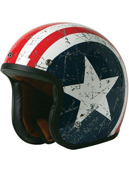 """Rebel Star"" 3/4 Biker Helmet by Torc Racing (White) - www.inkedshop.com"