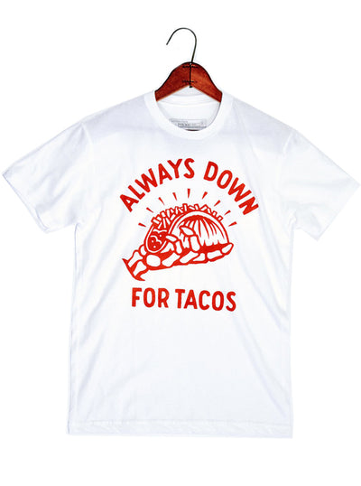 "Men's ""Always Down for Tacos"" Tee by Pyknic (White)"