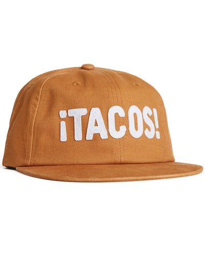 """¡TACOS!"" Strapback Hat by Pyknic (Tan)"