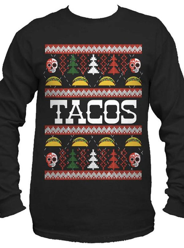 Men's Tacos Ugly Christmas Sweater Long Sleeve Tee by Cartel Ink
