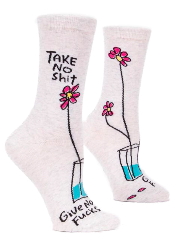 Women's Take No Shit Give No Fucks Crew Socks