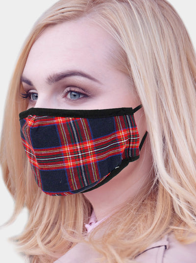 Tartan Plaid 2 Layer Face Mask