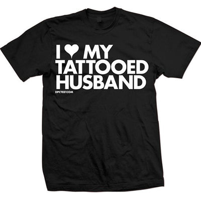 "Unisex ""I Heart My Tattooed Husband"" Tee by Dpcted Apparel (Black) - InkedShop - 2"