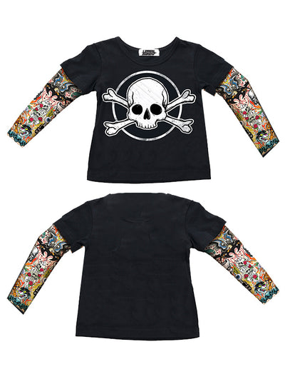 Kids Skull & Bones Tattoo Sleeve Tee by Lethal Angel