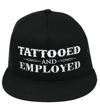 """Tattooed and Employed"" Snapback Hat by Steadfast Brand (Black) - InkedShop - 1"