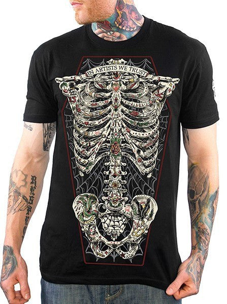 "Men's ""Tattoo Ribcage"" Tee by Skygraphx (Black) - www.inkedshop.com"