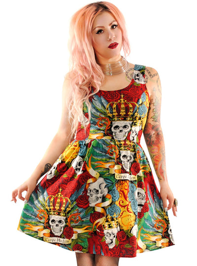 Women's Skull & Roses Tattoo Dress by Folter Clothing