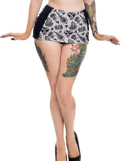 "Women's ""Tattoo Love"" Retro Pinup Bikini Bottom by Too Fast (Black)"