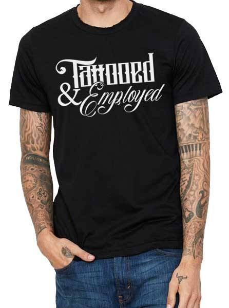 "Men's ""Tattooed and Employed Script"" Tee by Steadfast x Inked (Black)"