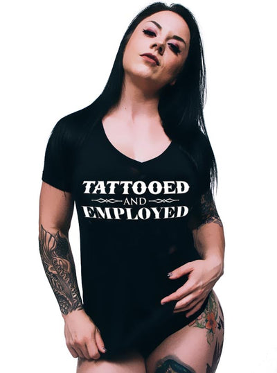 Women's Tattooed And Employed V-Neck Tee by Steadfast Brand