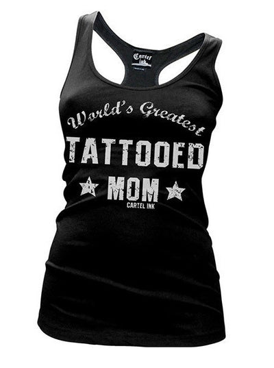 "Women's ""World's Greatest Tattooed Mom"" Racerback Tank by Cartel Ink (Black) - www.inkedshop.com"
