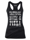 "Women's ""Tattoos Booze And Pizza"" Tank by Aesop Originals (Black) - www.inkedshop.com"