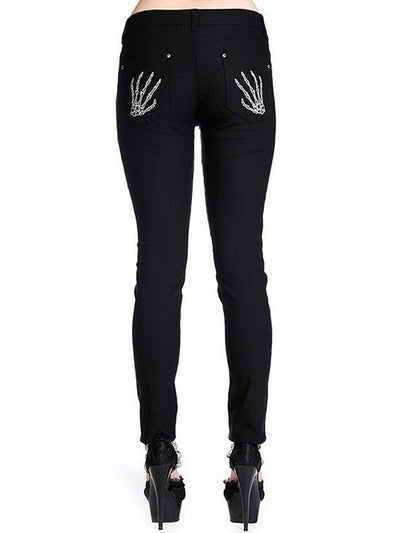 "Women's ""Skeleton Hand"" Trousers by Banned Apparel (Black) - www.inkedshop.com"