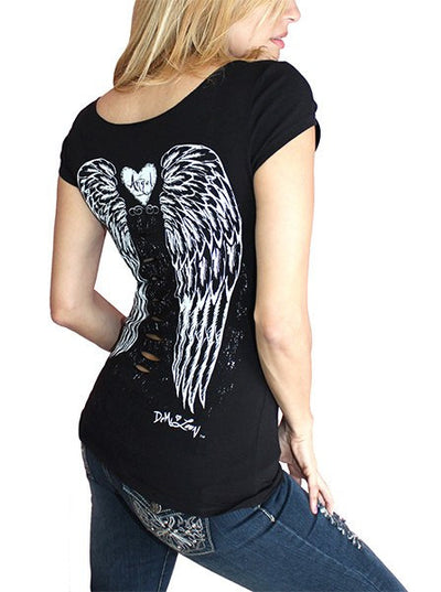 "Women's ""Fallen Angel"" Slash Tee by Demi Loon (Black)"
