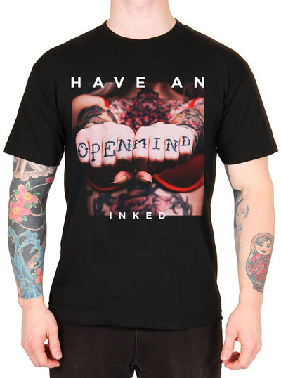 "Men's ""Open Mind"" Tee by Inked (Black)"