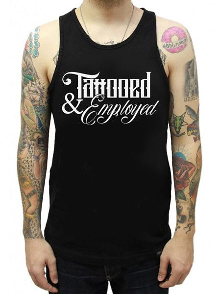 "Men's ""Tattooed and Employed Script"" Tank by Steadfast Brand (Black)"