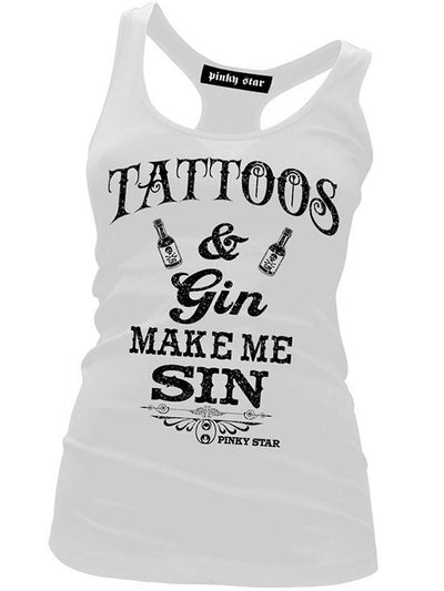 "Women's ""Tattoos & Gin Make Me Sin"" Racerback Tank by Pinky Star (White) - www.inkedshop.com"