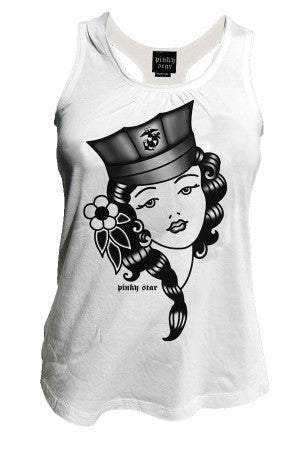 "Women's ""The Marine Girl"" Racerback Tank by Pinky Star (White) - InkedShop - 1"