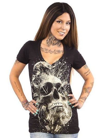 "Women's ""Thoughtless"" V Neck Tee by Skygraphx (Black) - www.inkedshop.com"