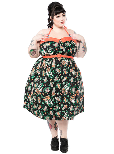 Women's Hallow-Tiki Spooksville Dress by Sourpuss