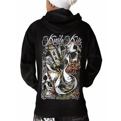 "Men's ""Time is Running Out"" Zip Up by Kush Kills Clothing (Black) - www.inkedshop.com"