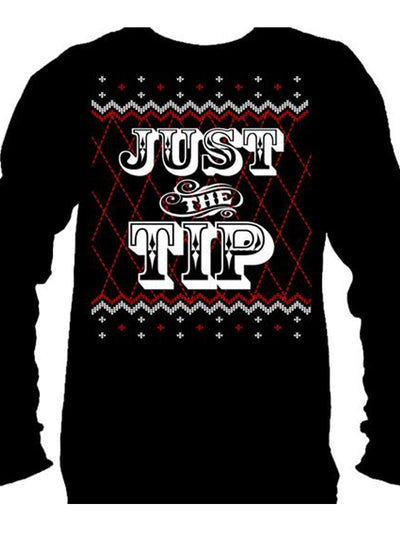 Men's Just The Tip Ugly Christmas Sweater Long Sleeve Tee by Cartel Ink