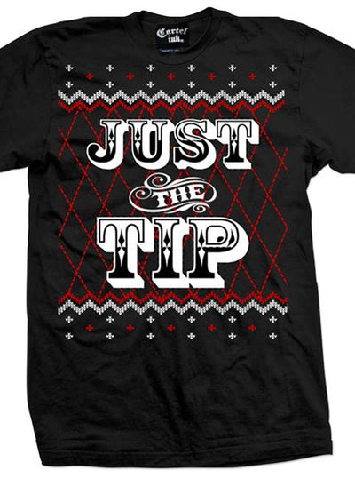 "Men's ""Just The Tip"" Ugly Christmas Sweater Tee by Cartel Ink (Black)"
