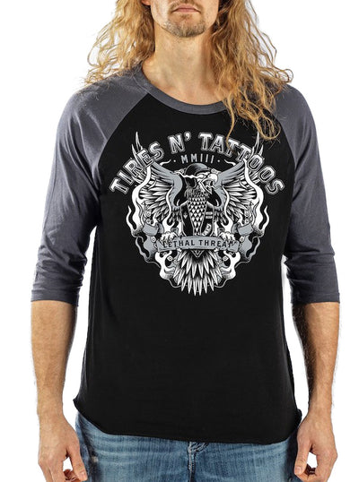 "Men's ""Tires N' Tattoos"" Raglan Tee by Lethal Threat (Grey/Black)"