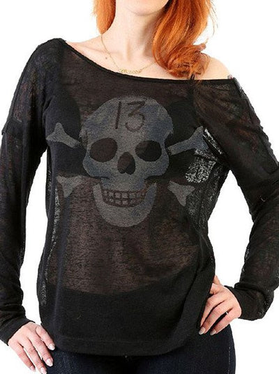 "Women's ""Cretin Hop"" Fashion Top by Lucky 13 (Black)"