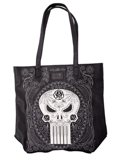 "Women's ""Marvel Punisher Sugar Skull"" Tote Bag by Loungefly (Black)"