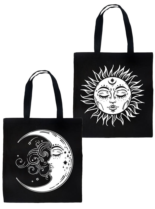 Celestial Sun & Moon 2 Sided Tote Bag by Rat Baby