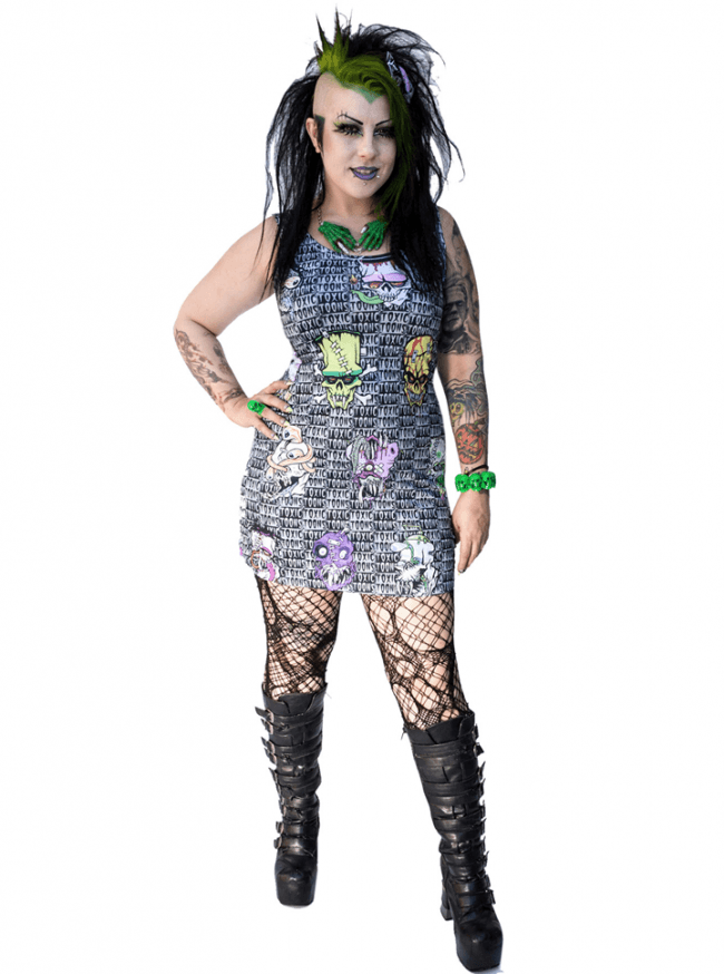 "Women's ""Toxic Toons Ugly Heads"" Tank Dress by Kreepsville 666 (Grey) - www.inkedshop.com"
