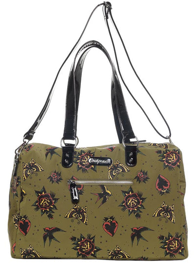 """Hearts & Roses"" Travel Bag by Sourpuss (Green)"