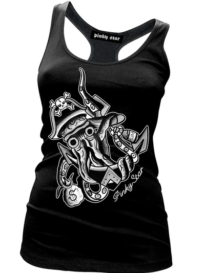 "Women's ""Treasures of the Deep"" Tank by Pinky Star (Black/White) - www.inkedshop.com"