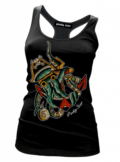 "Women's ""Treasures of the Deep"" Tank by Pinky Star (Black) - www.inkedshop.com"