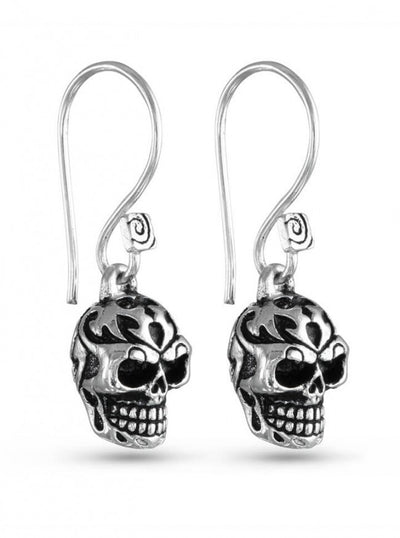 """Tribal Human Skull"" Earrings by Lost Apostle (Antique Silver) - InkedShop - 1"