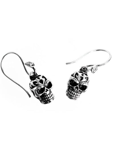 """Tribal Human Skull"" Earrings by Lost Apostle (Antique Silver) - InkedShop - 2"