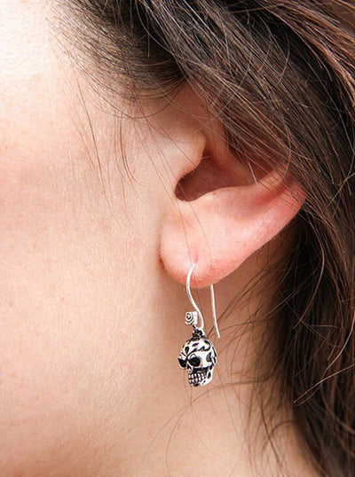 """Tribal Human Skull"" Earrings by Lost Apostle (Antique Silver) - InkedShop - 4"