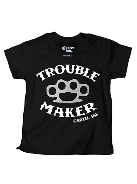 "Kid's ""Trouble Maker"" Tee Shirt by Cartel Ink (Black) - InkedShop - 1"