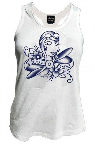 "Women's ""True Love is a Pilot Girl"" Tank By Pinky Star (white) - InkedShop - 2"