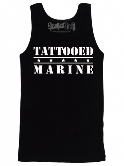 "Men's ""Tattooed Marine"" Tank by Steadfast Brand (Black) - www.inkedshop.com"