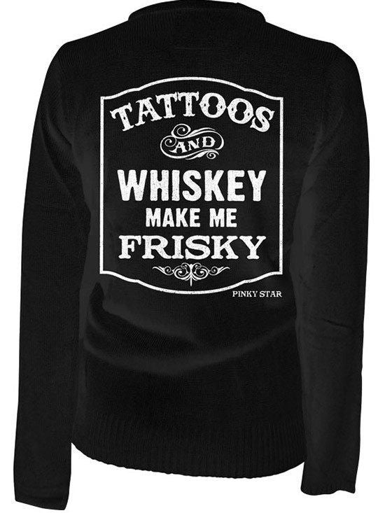 "Women's ""Tattoos and Whiskey Make Me Frisky"" Cardigan by Pinky Star (Black) - www.inkedshop.com"